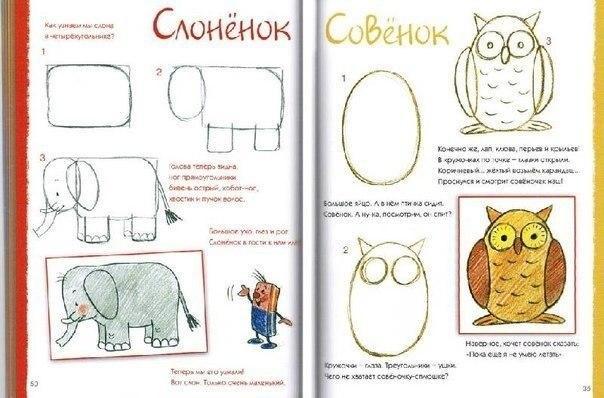 Пособия Уроки рисования как нарисовать слона и сову, схемы