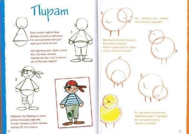 Пособия Уроки рисования как нарисовать цыпленка и пирата схема