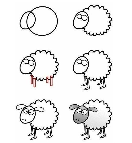 Пособия Уроки рисования как нарисовать овечку схема