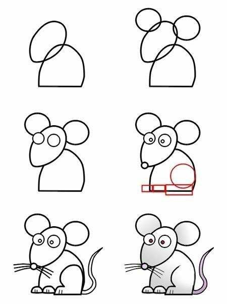 Пособия Уроки рисования как нарисовать мышку схема