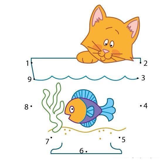 Пособия соединялки соединялка кошка с рыбкой, скачать и распечатать