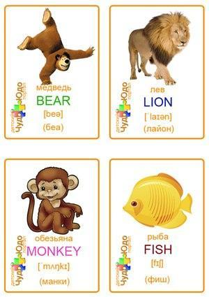 Английские карточки, распечатать, животные, алфавит
