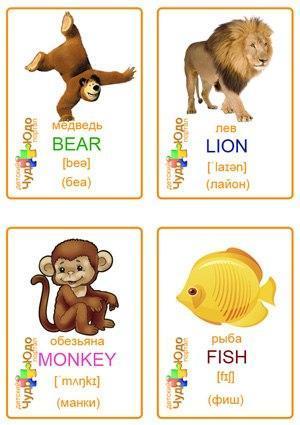 Пособия Животные карточки животные для английского, распечатать и скачать