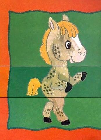Пособия пазлы лошадь, пазлы из трех частей, бесплатно