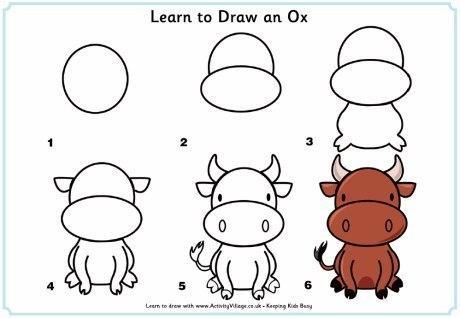 Пособия корову как нарисовать сидящую корову, уроки рисования для детей 6 лет