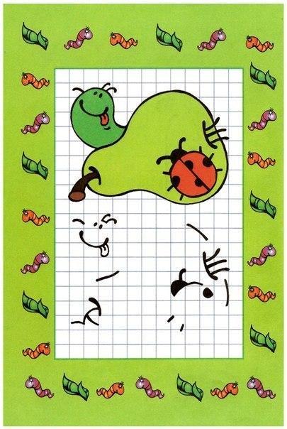 Пособия Уроки рисования груша и божья коровка, рисуем по клеточкам для самых маленьких