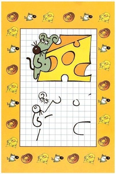 Пособия Уроки рисования мышка с сыром, рисуем по клеточкам для самых маленьких