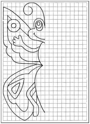Пособия уроки бабочка, рисуем по клеточкам для детей 6 лет
