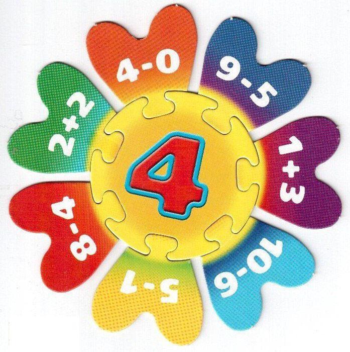Пособия пазлы мозаика математическая, цифра 4, пазлы на тренировку счета