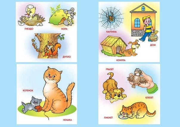 Пособия Карточки для развития речи дома, животные, действия животных, развитие речи карточки скачать бесплатно